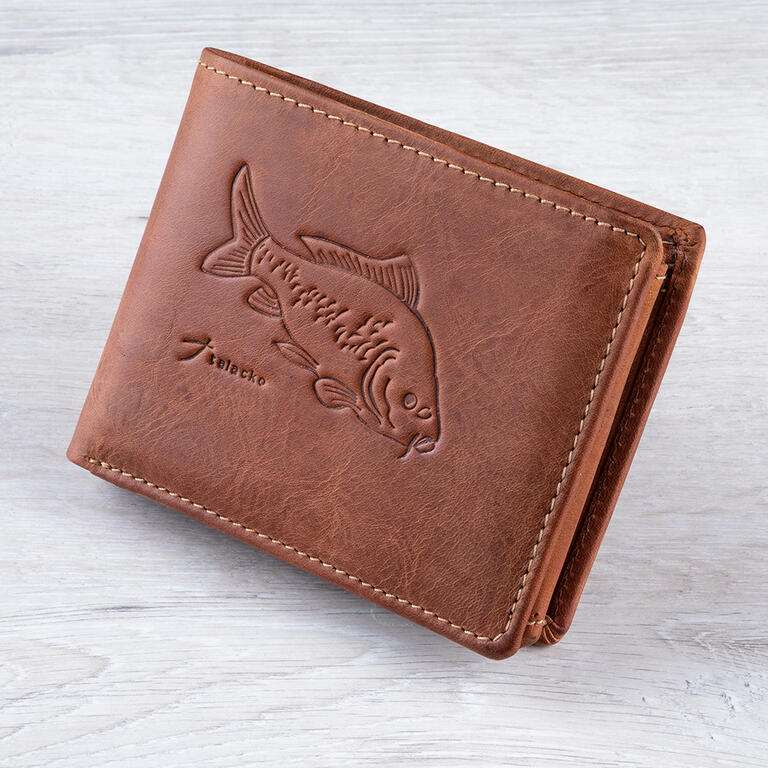 Pánská kožená peněženka Talacko 12005 světle hnědá ražba kapr