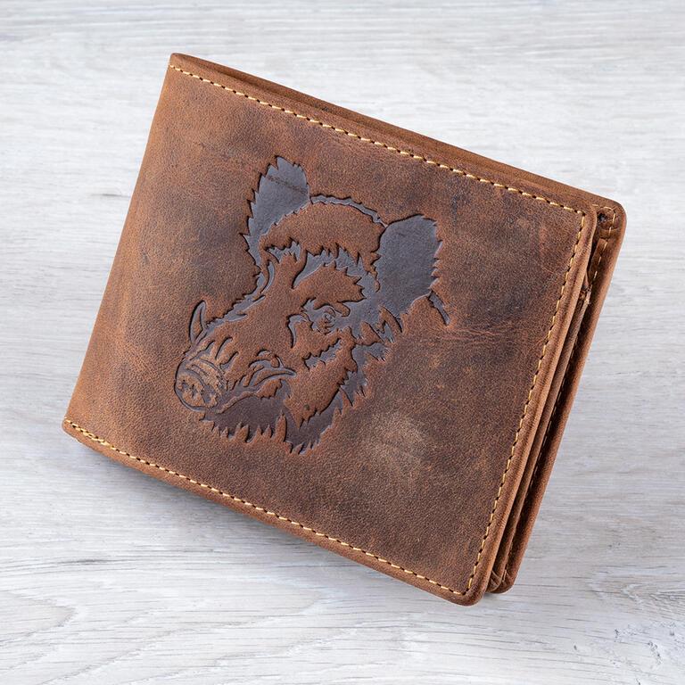 Talacko Pánská kožená peněženka 1705 hnědá ražba divočák