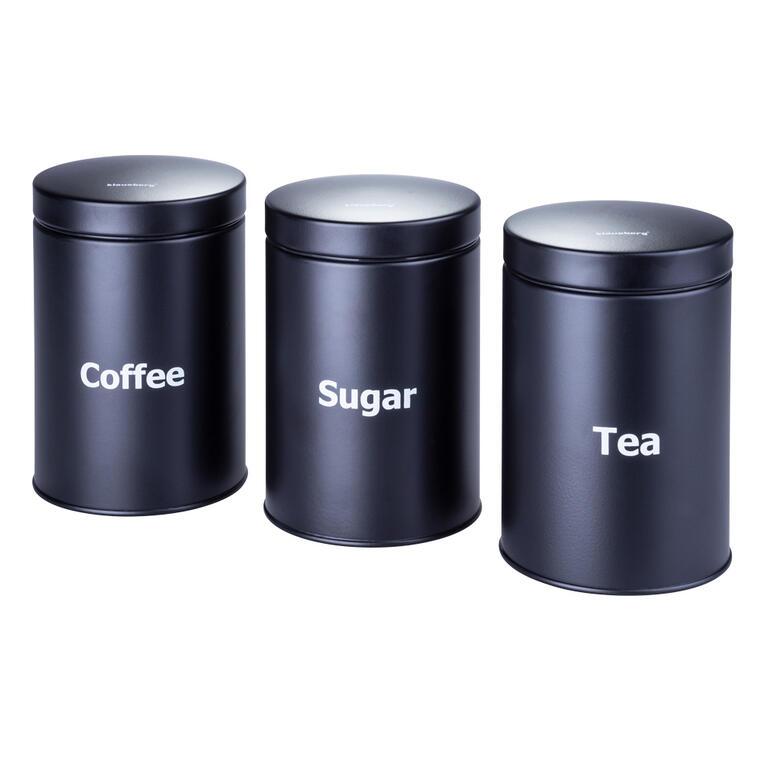 Plechové dózy na kávu, čaj a cukr černé Klaus-berg