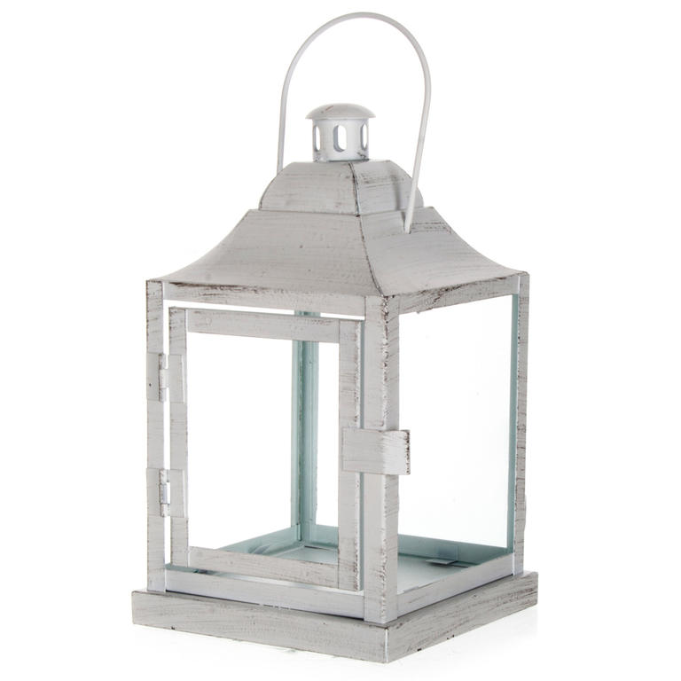 Plechová lucerna na čajovou svíčku matná bílá 20 cm