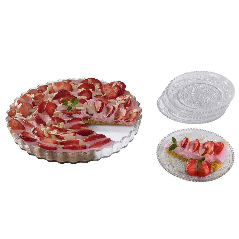 Skleněná servírovací sada formy na koláč a 4 talířků za zvýhodněnou cenu 199 Kč