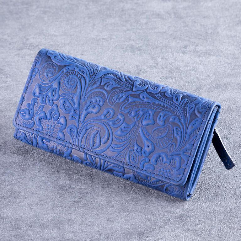 Levně Dámská kožená peněženka modrá