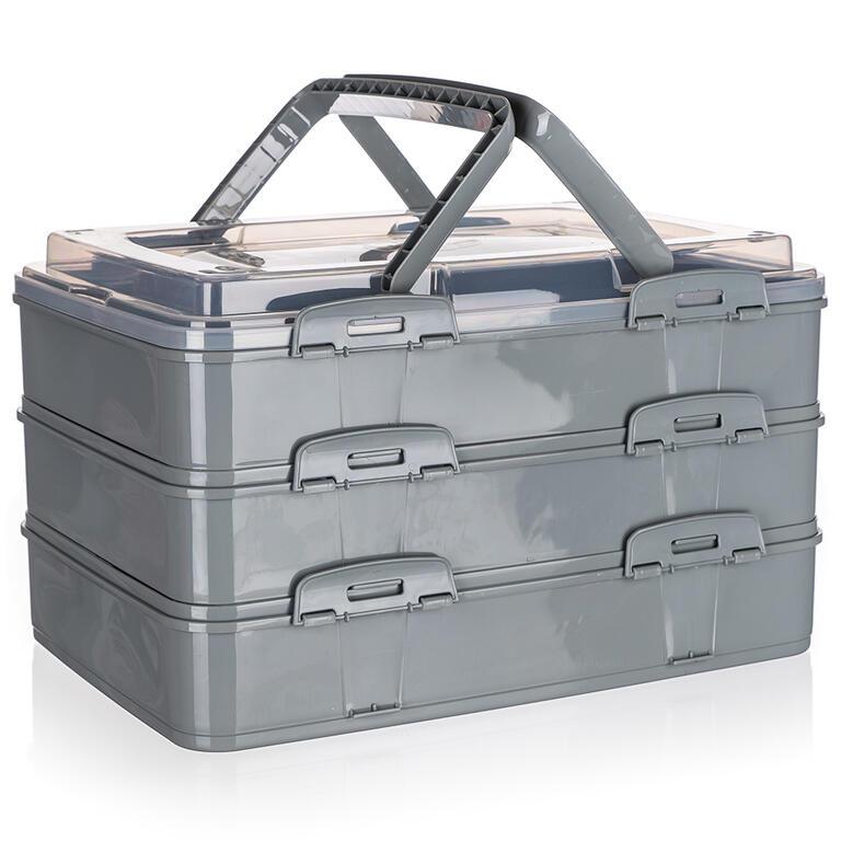 Party box třípatrový šedý