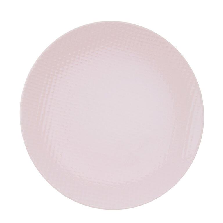 Keramický mělký talíř RELIEF růžová