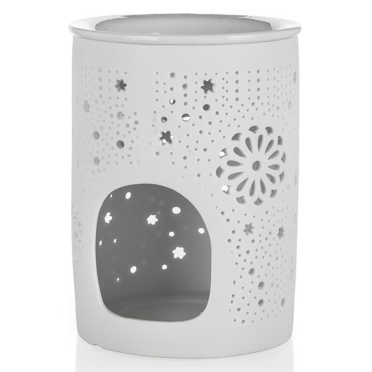 Aroma lampa porcelánová 8,5 x 11,5 cm, hvězdy, bílá