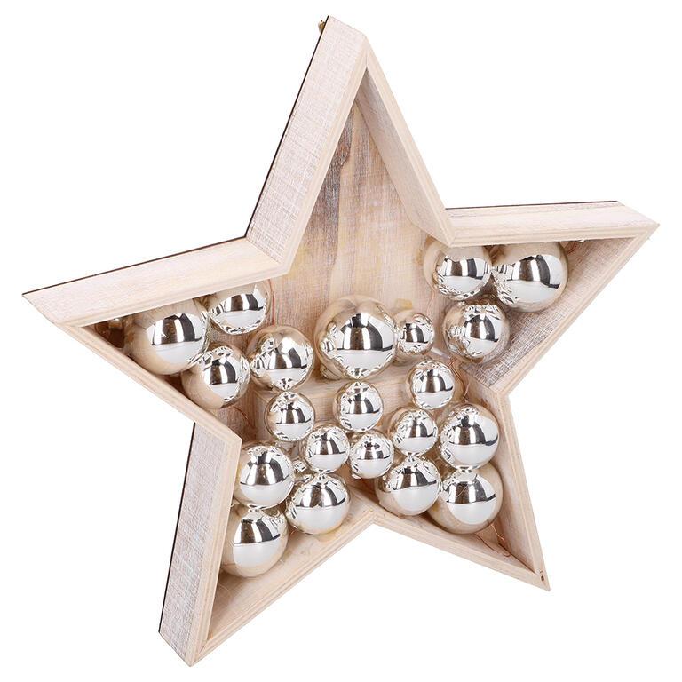 Dřevěná vánoční dekorace HVĚZDA, 15 LED