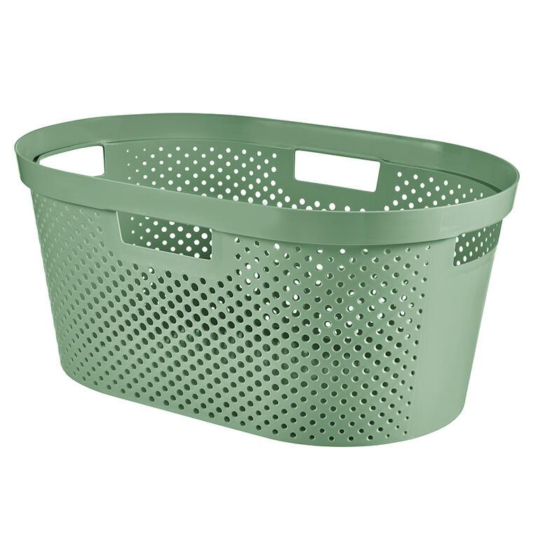 Levně Koš na čisté prádlo INFINITY recyklovaný plast zelený 40 l
