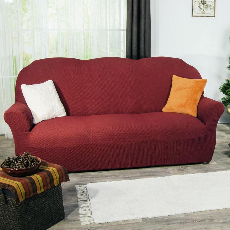 Nueva Textura decoDoma napínací potahy na sedací soupravu multielastický CARLA bordó na sedačku - trojkřeslo 180 - 220 cm