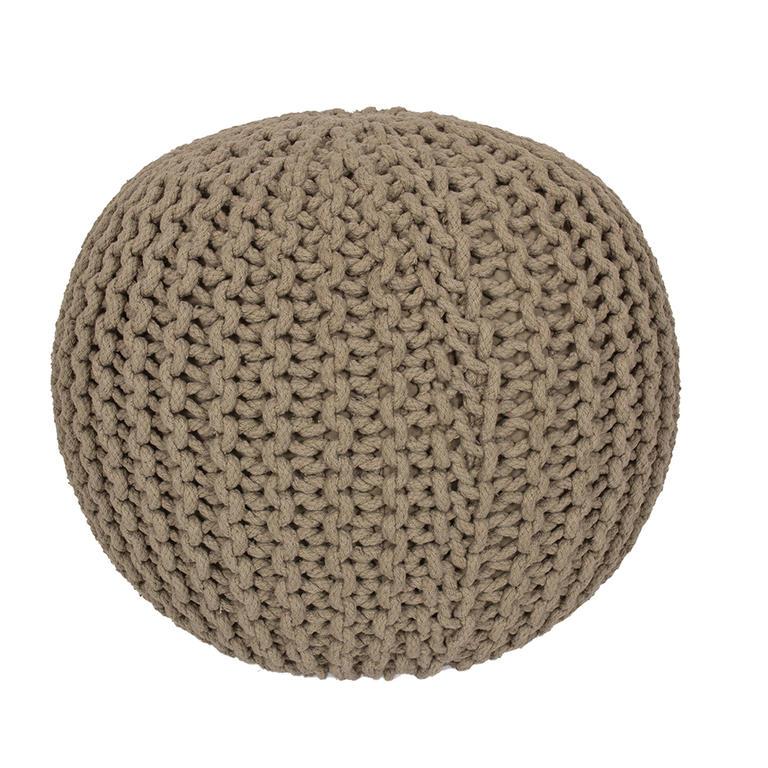Ručně pletený puf béžový  - 1
