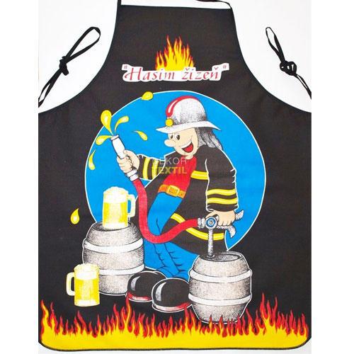 Kuchyňská zástěra - hasič černá