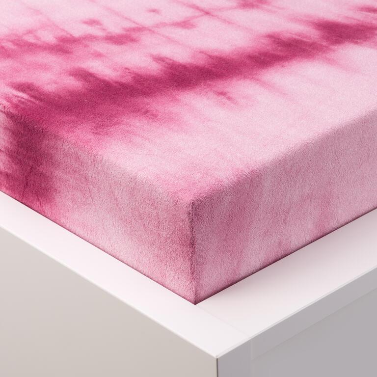 Batikované napínací prostěradlo froté růžové  - 1