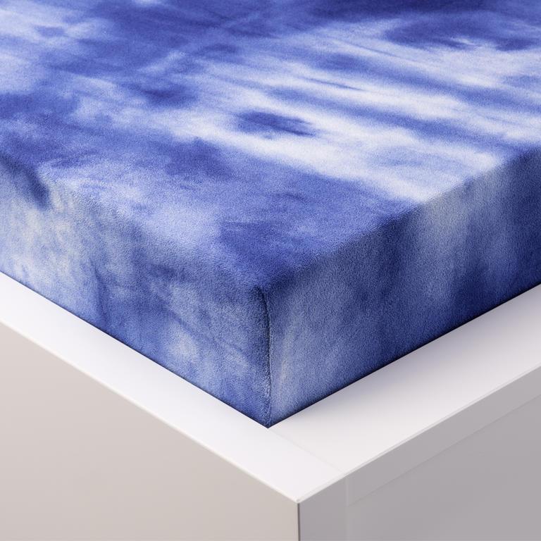 Batikované napínací prostěradlo froté modré dvojlůžko - 1