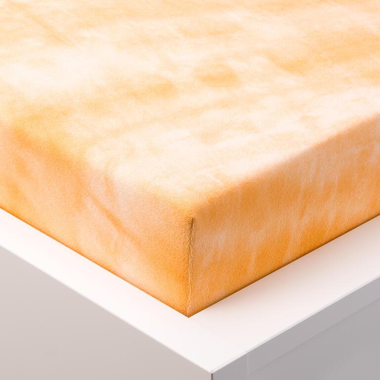 Batikované napínací prostěradlo froté oranžová jednolůžko - 1