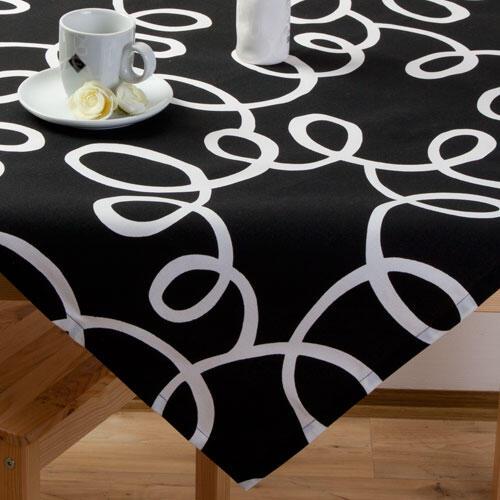Napron na stůl z kolekce Esprit černý s bílými ornamenty - 1
