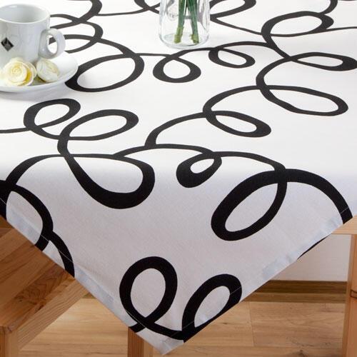 Napron na stůl z kolekce Esprit bílý s černými ornamenty - 1