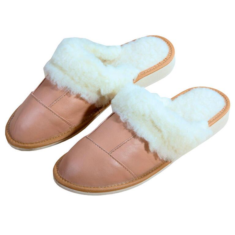 Dámské kožené pantofle s ovčí vlnou vel. 40