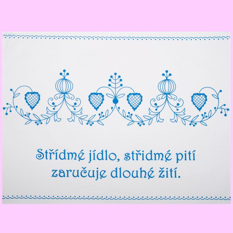 Bavlněná utěrka s českým příslovím Ornamenty