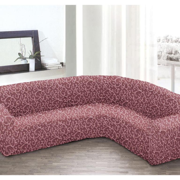 Bielastické potahy 3D ARABESCO bordó rohová sedačka (š. 350 - 530 cm) - 1
