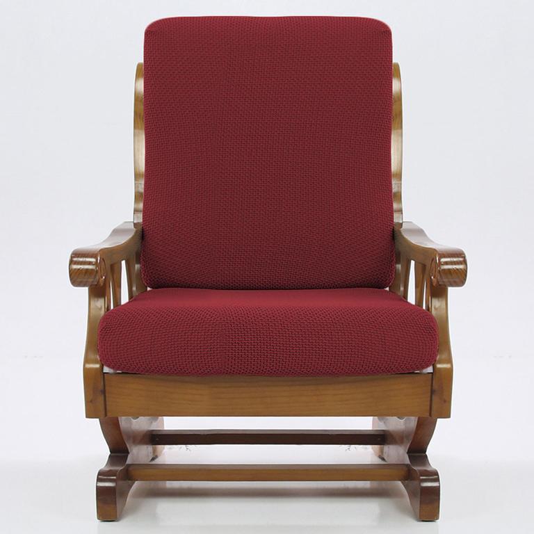 Multielastické potahy CARLA bordó křeslo s dřevěnými rukojeťmi (š. 60 - 80 cm) - 1