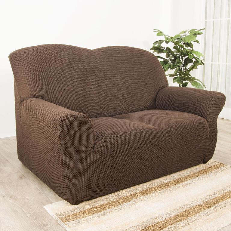 Nueva Textura decoDoma napínací potahy na sedací soupravu multielastický CARLA hnědé na sedačku - dvojkřeslo 140 - 180 cm
