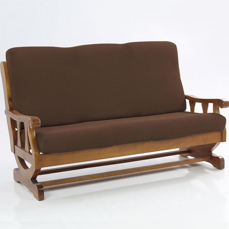 Nueva Textura decoDoma napínací potahy na sedací soupravu multielastický CARLA hnědé na sedačku - dvojkřeslo s dřevěnými rukojeťmi 140 - 170 cm