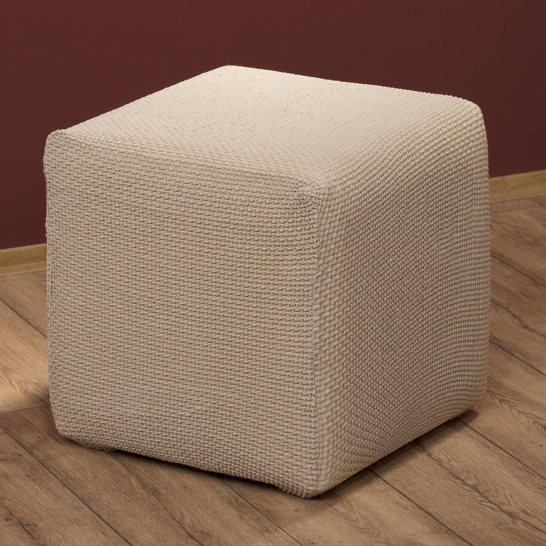 Multielastické potahy CARLA smetanové taburet (45 x 45 x 45 cm) - 1
