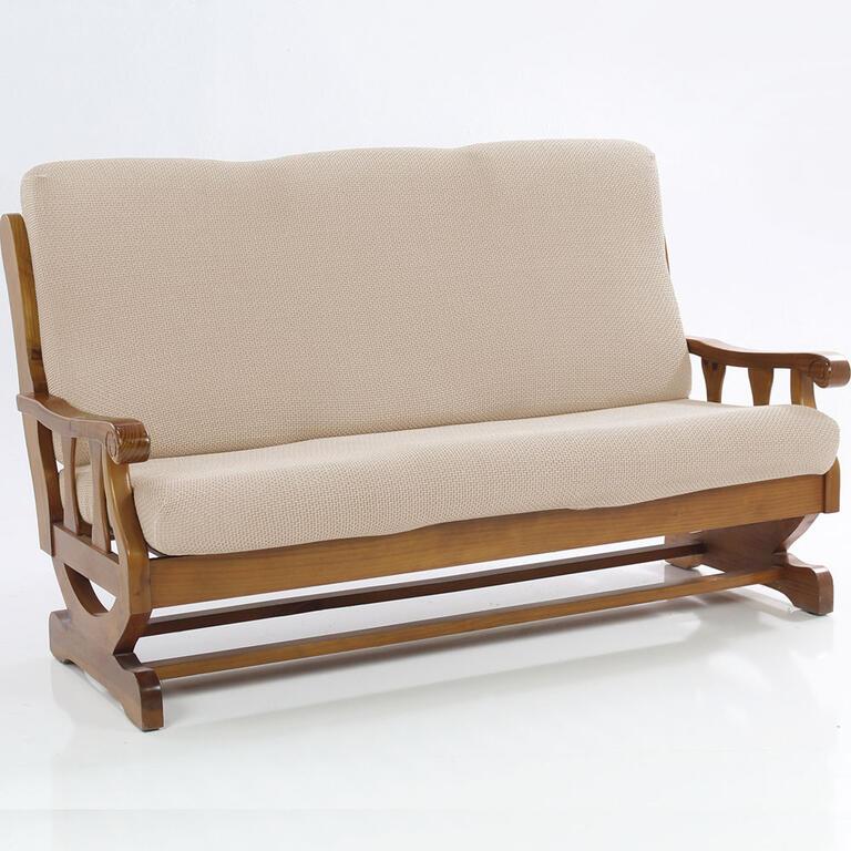 Nueva Textura decoDoma napínací potahy na sedací soupravu multielastický CARLA smetanové na sedačku - dvojkřeslo s dřevěnými rukojeťmi 140 - 170 cm
