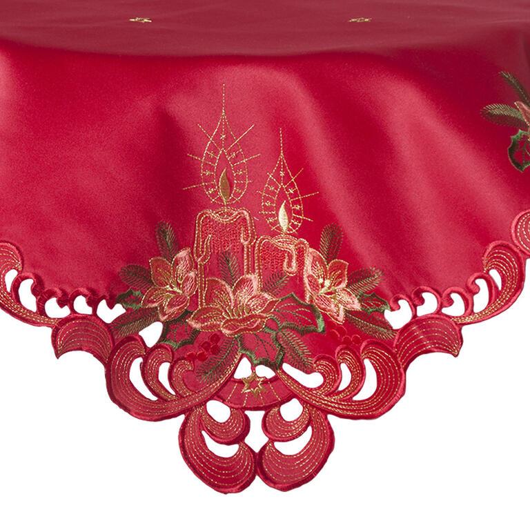 Vánoční ubrus s výšivkou červený  - 1