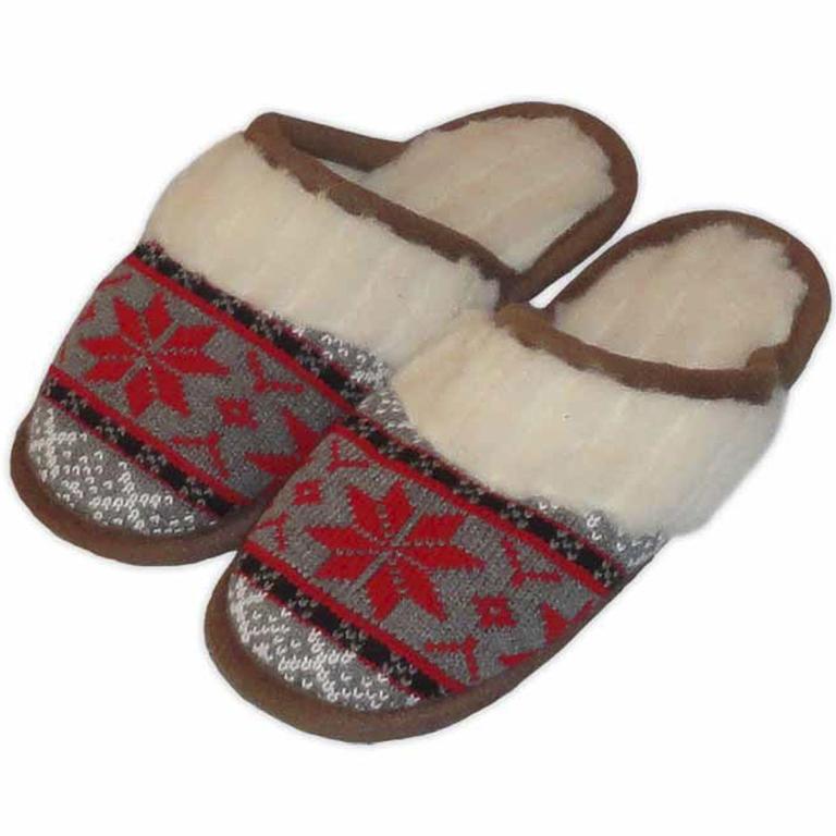Dámské domácí pantofle z ovčí vlny červené