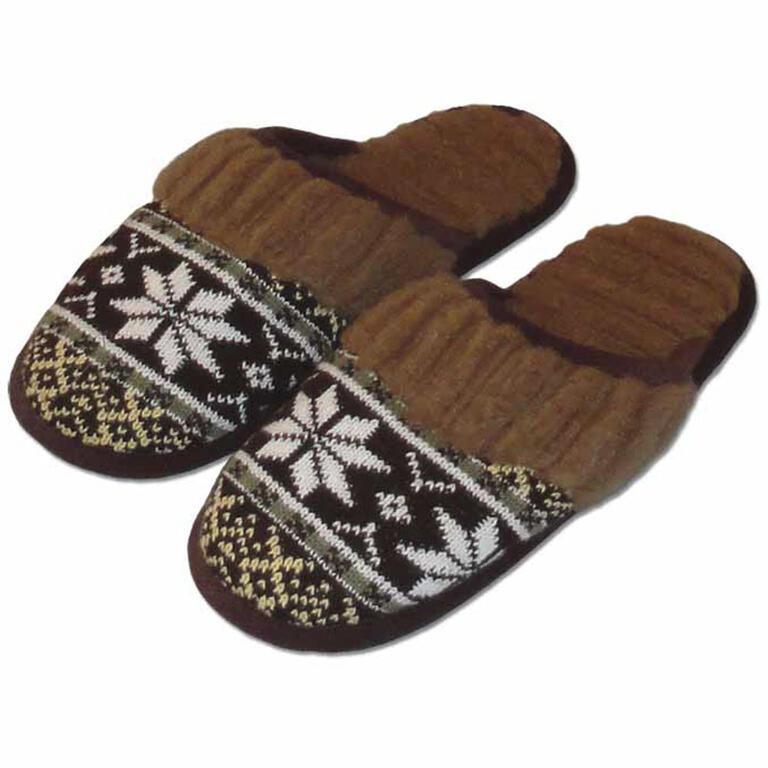 Pánské domácí pantofle z ovčí vlny hnědé vel. 43