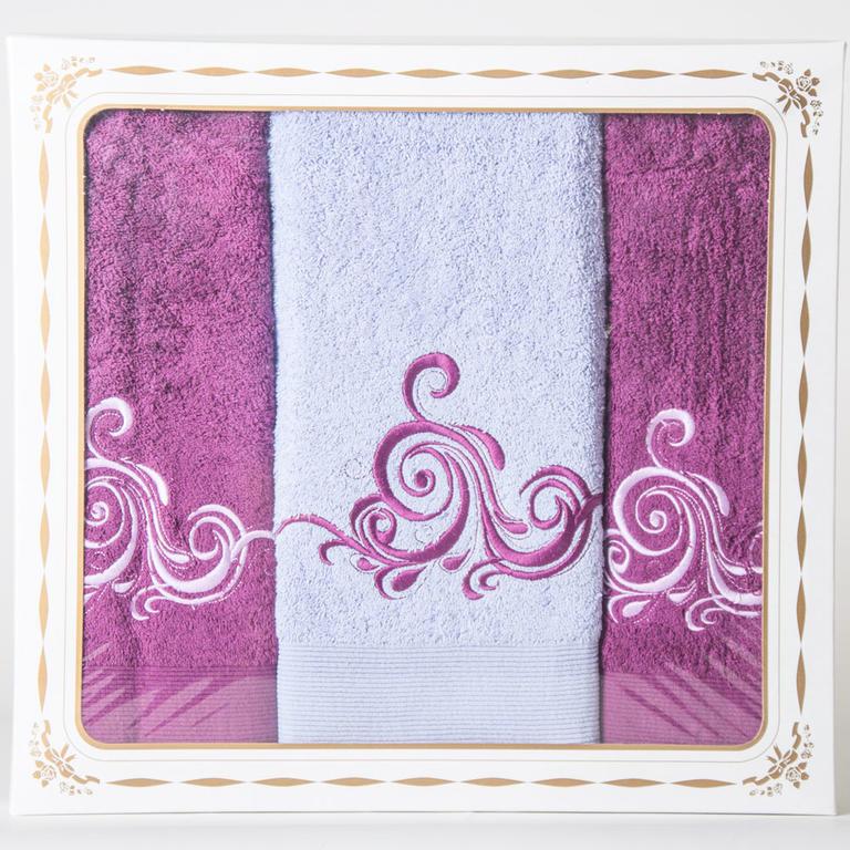 Bavlněné froté ručníky a osuška Margaret fialové