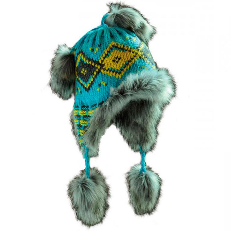 Ovčí věci Dámská zimní čepice s kožešinou modrá