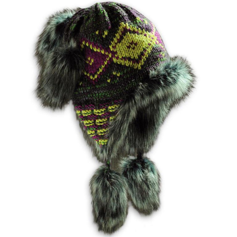 Dámská zimní čepice s kožešinou fialová - 1