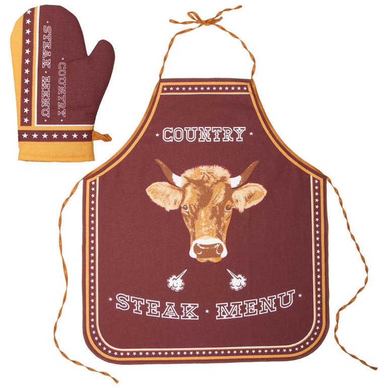 Kuchyňská zástěra a chňapka Steak Menu