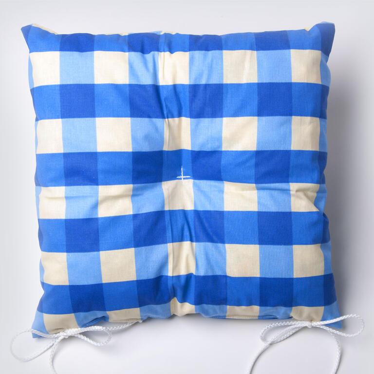 Prošité podsedáky na židle 37 x 37 cm 2 ks modré