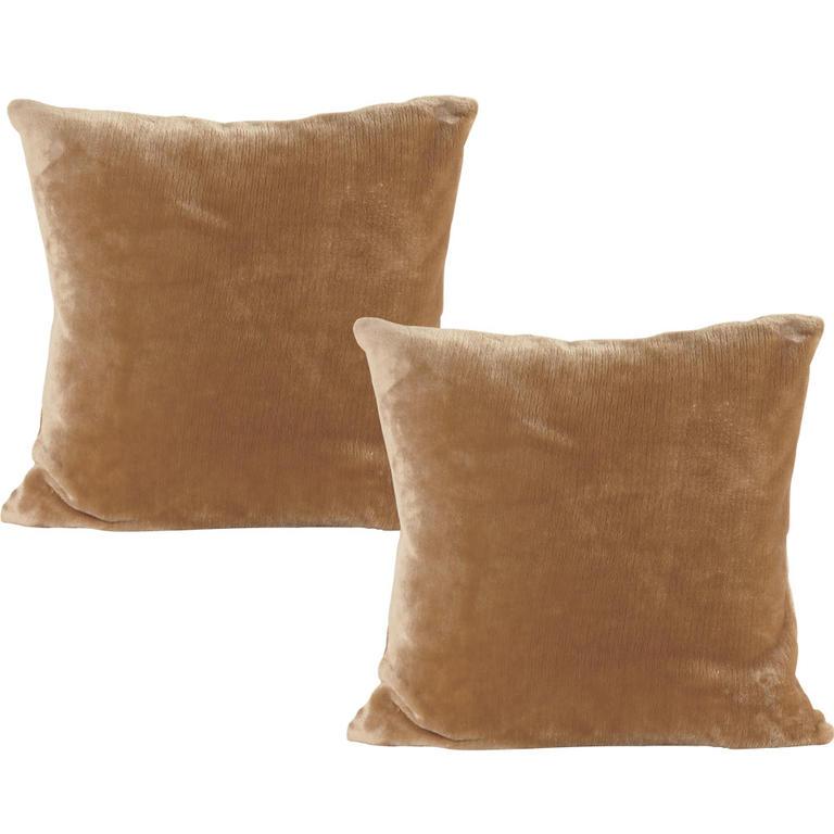 Povlaky na polštářky z mikroplyše oříškové 2 ks