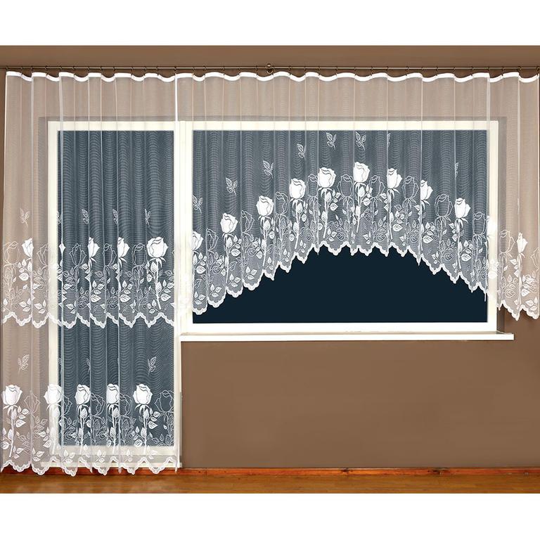 Hotová žakárová záclona Róza - balkonový komplet
