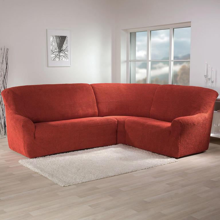 Super strečové potahy GLAMOUR cihlové rohová sedačka (š. 350 - 530 cm) - 1