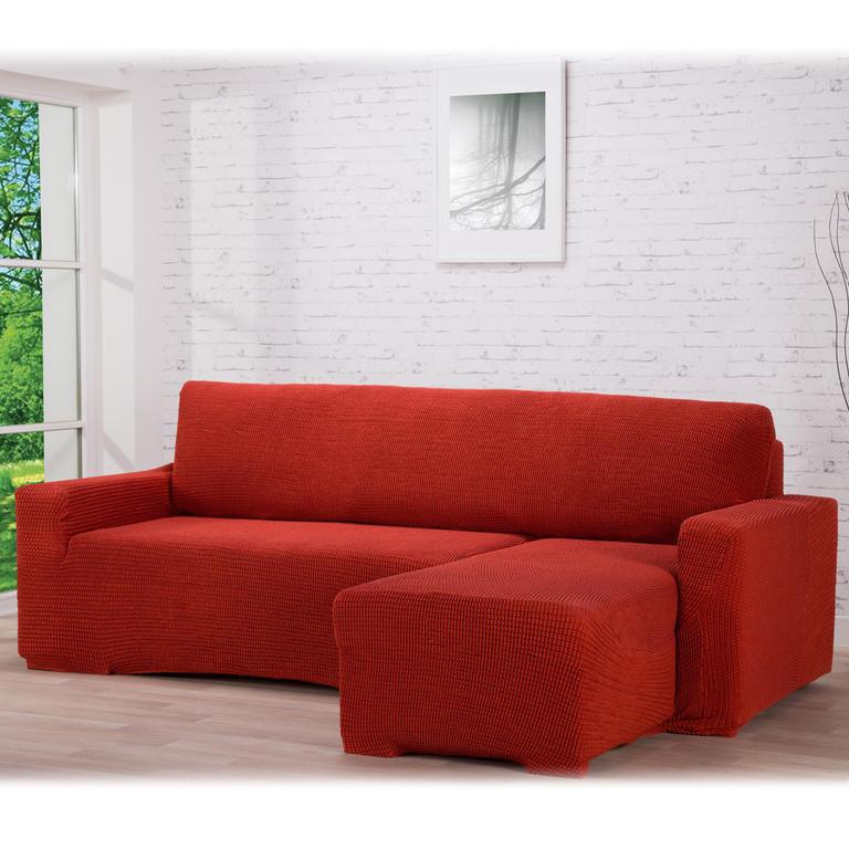 Nueva Textura decoDoma napínací potahy na pohovku s otomanem strečový GLAMOUR cihlové na sedací soupravu s otomanem vpravo 210 - 270 cm