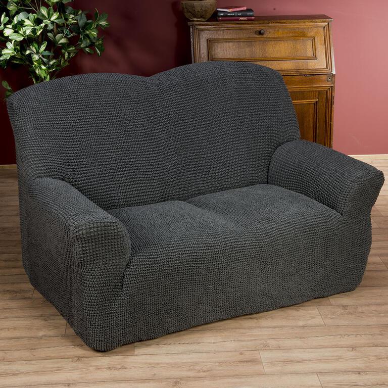 Nueva Textura decoDoma napínací potahy na sedací soupravu strečový GLAMOUR šedé na sedačku - trojkře