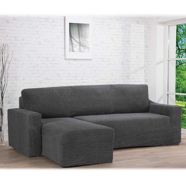 Nueva Textura decoDoma napínací potahy na pohovku s otomanem strečový GLAMOUR šedé na sedací soupravu s otomanem vlevo 210 - 270 cm