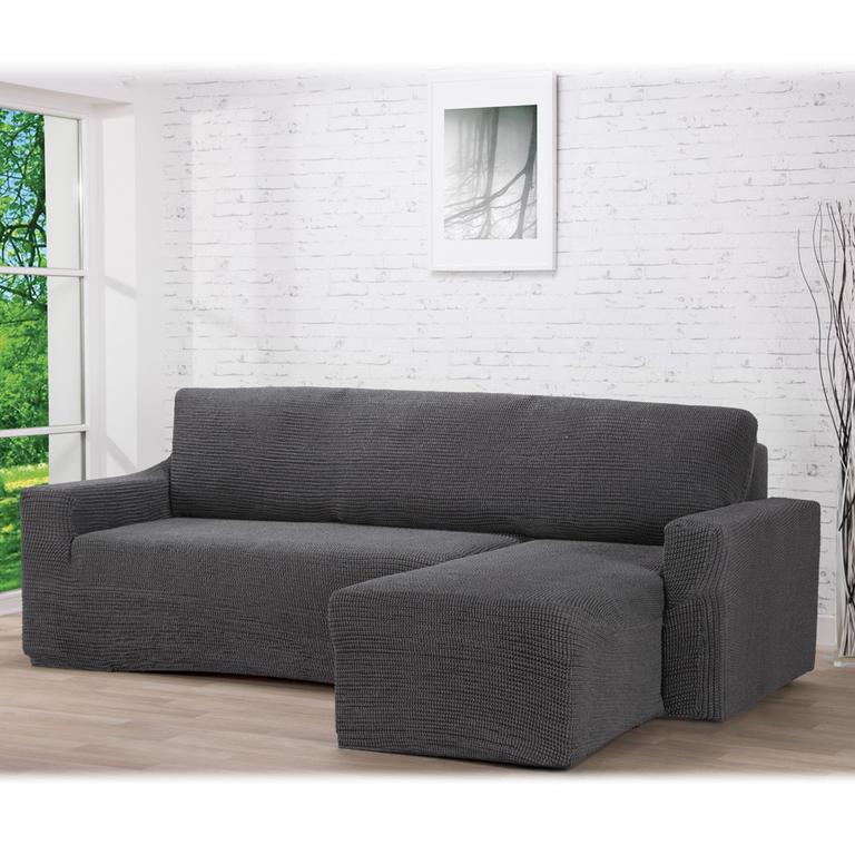 Nueva Textura decoDoma napínací potahy na pohovku s otomanem strečový GLAMOUR šedé na sedací soupravu s otomanem vpravo 210 - 270 cm