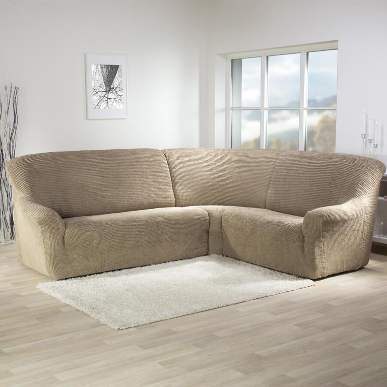 Super strečové potahy GLAMOUR oříškové rohová sedačka (š. 350 - 530 cm) - 1