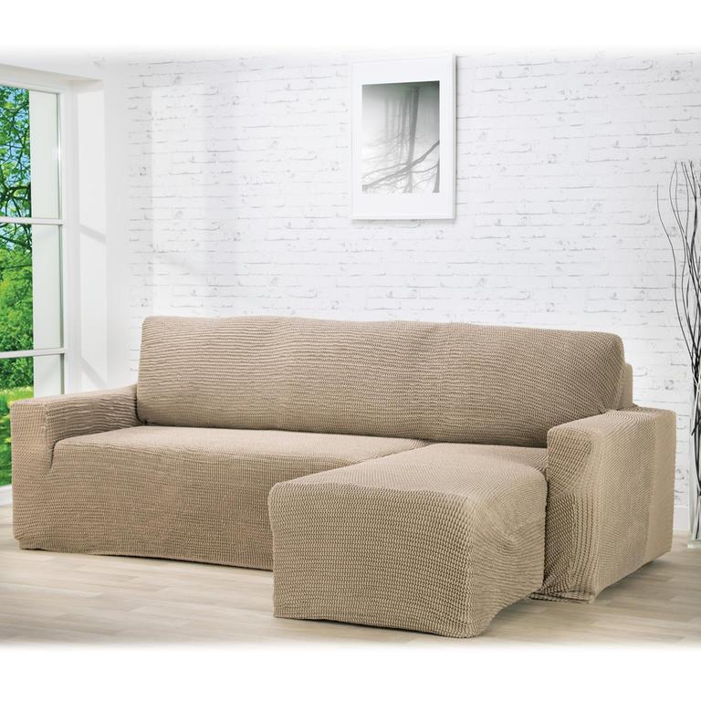 Nueva Textura decoDoma napínací potahy na pohovku s otomanem strečový GLAMOUR oříškové na sedací soupravu s otomanem vpravo 210 - 270 cm