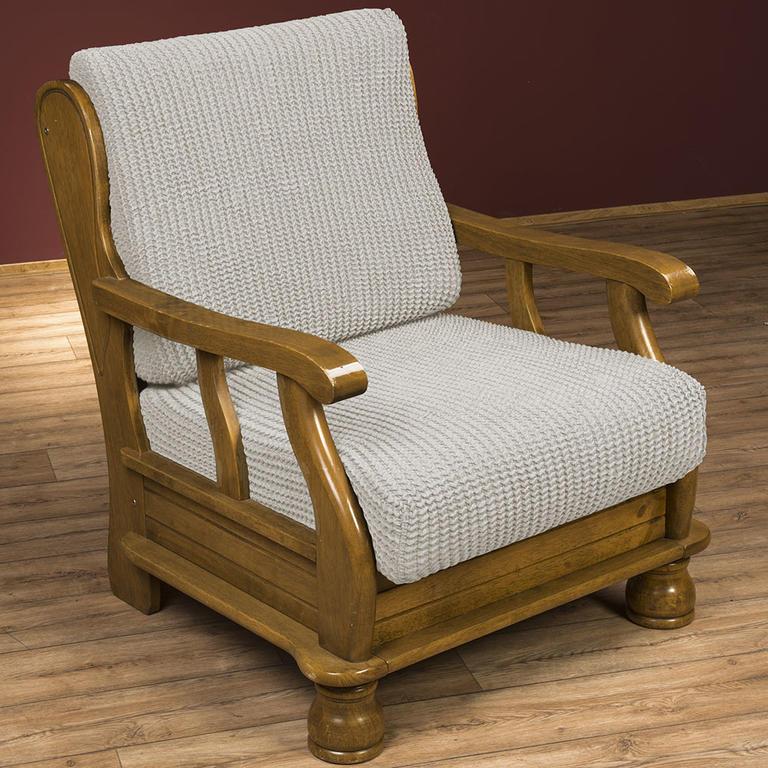 Super strečové potahy GLAMOUR smetanové křeslo s dřevěnými rukojeťmi (š. 60 - 80 cm)