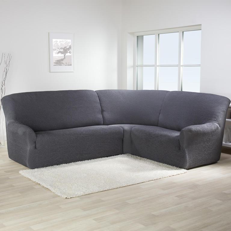 Bielastické potahy CAFFÉ antracit rohová sedačka (š. 350 - 530 cm) - 1