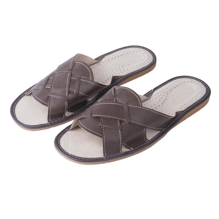 Pánské kožené pantofle hnědé vel. 41