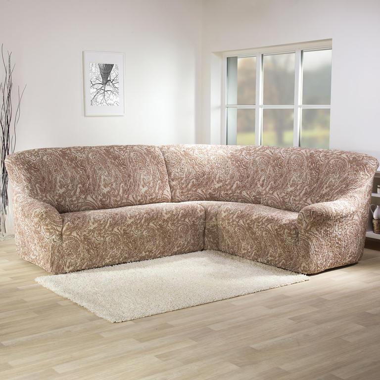 Bielastické potahy MAREA béžové rohová sedačka (š. 350 - 530 cm) - 1