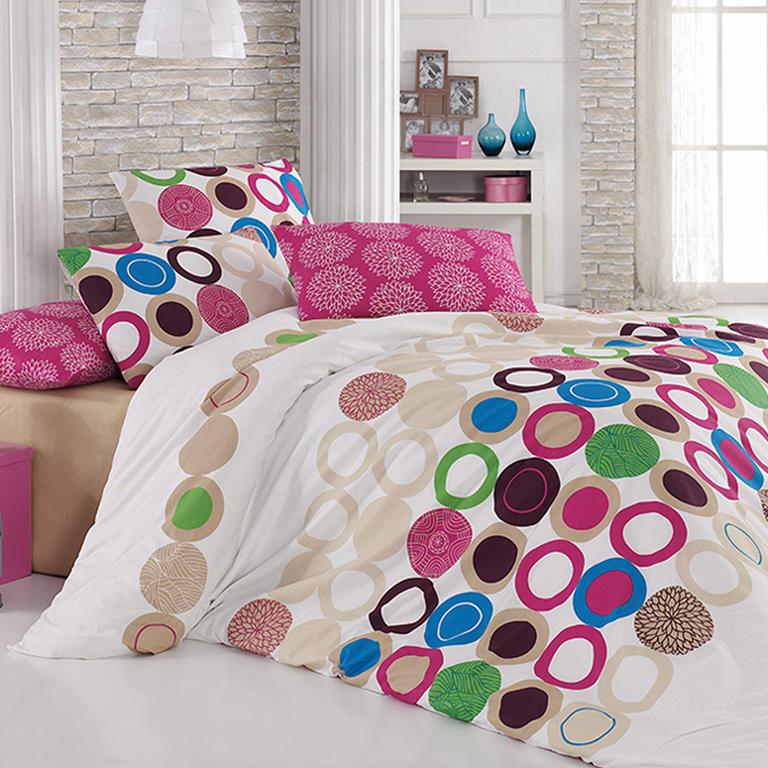 Bavlněné ložní povlečení Beneton Fushia růžové francouzská postel