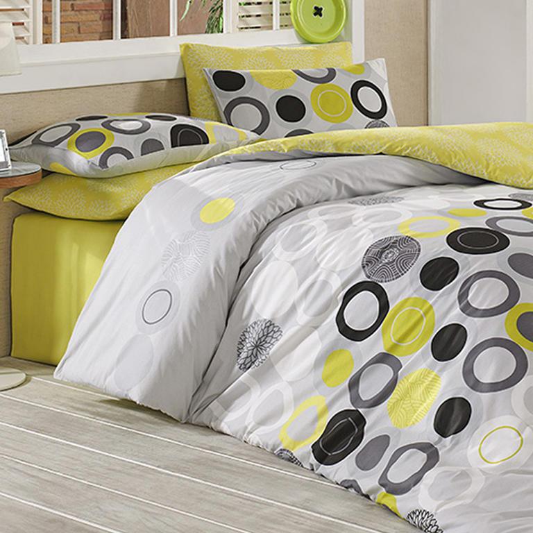 Bavlněné ložní povlečení Beneton žluté francouzská postel